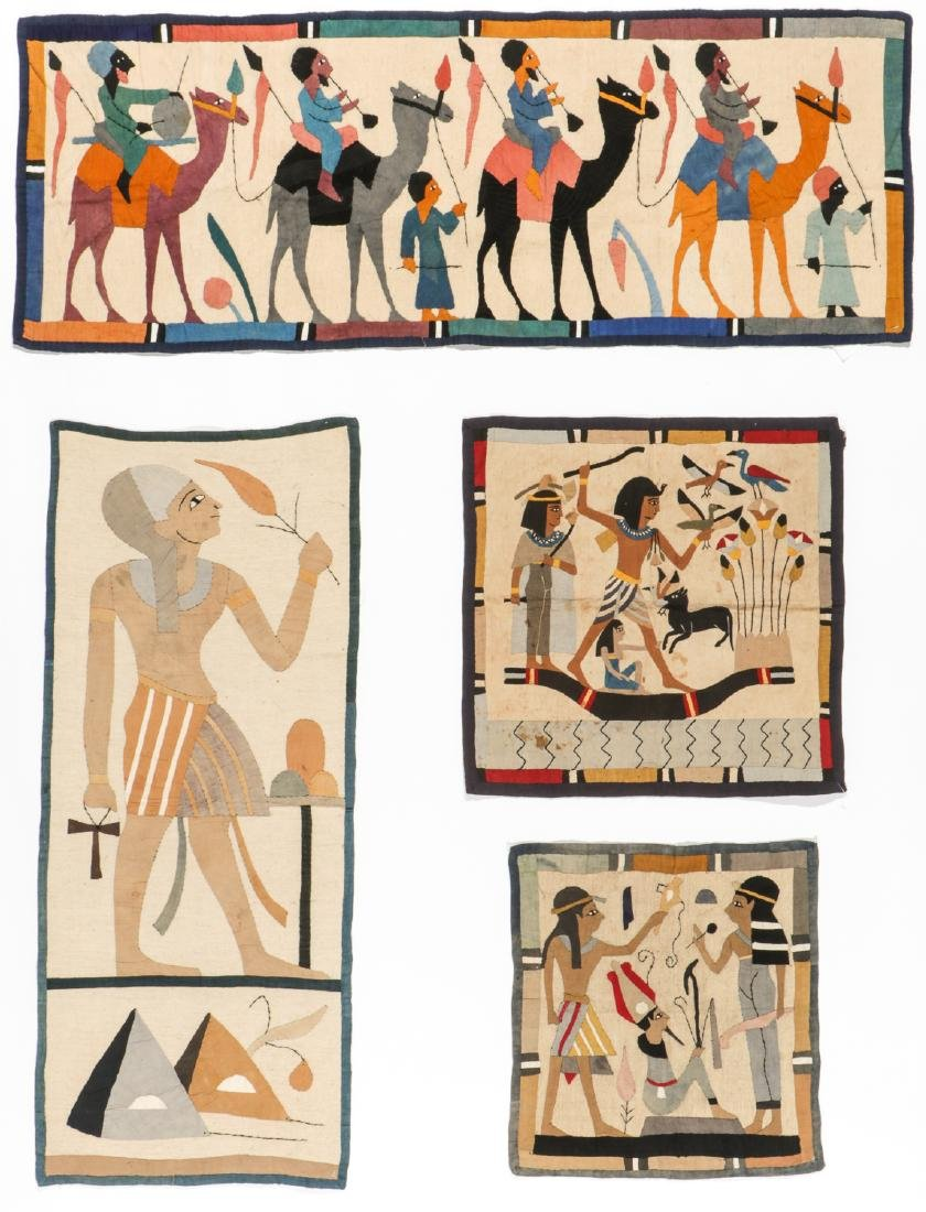 4 Egyptian Applique Embroideries, Early 20th C.