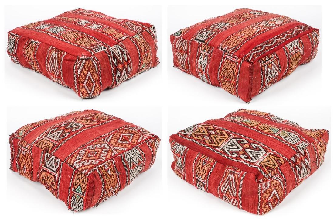 4 Vintage Moroccan Kilim Floor Cushions