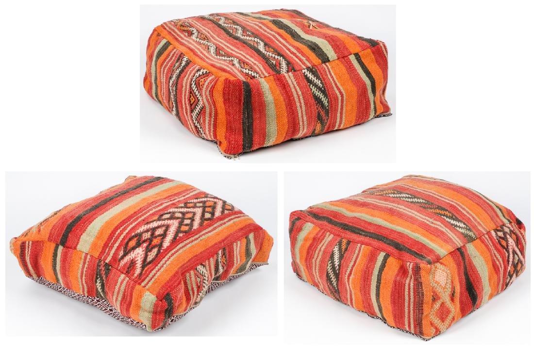 3 Vintage Moroccan Kilim Floor Cushions