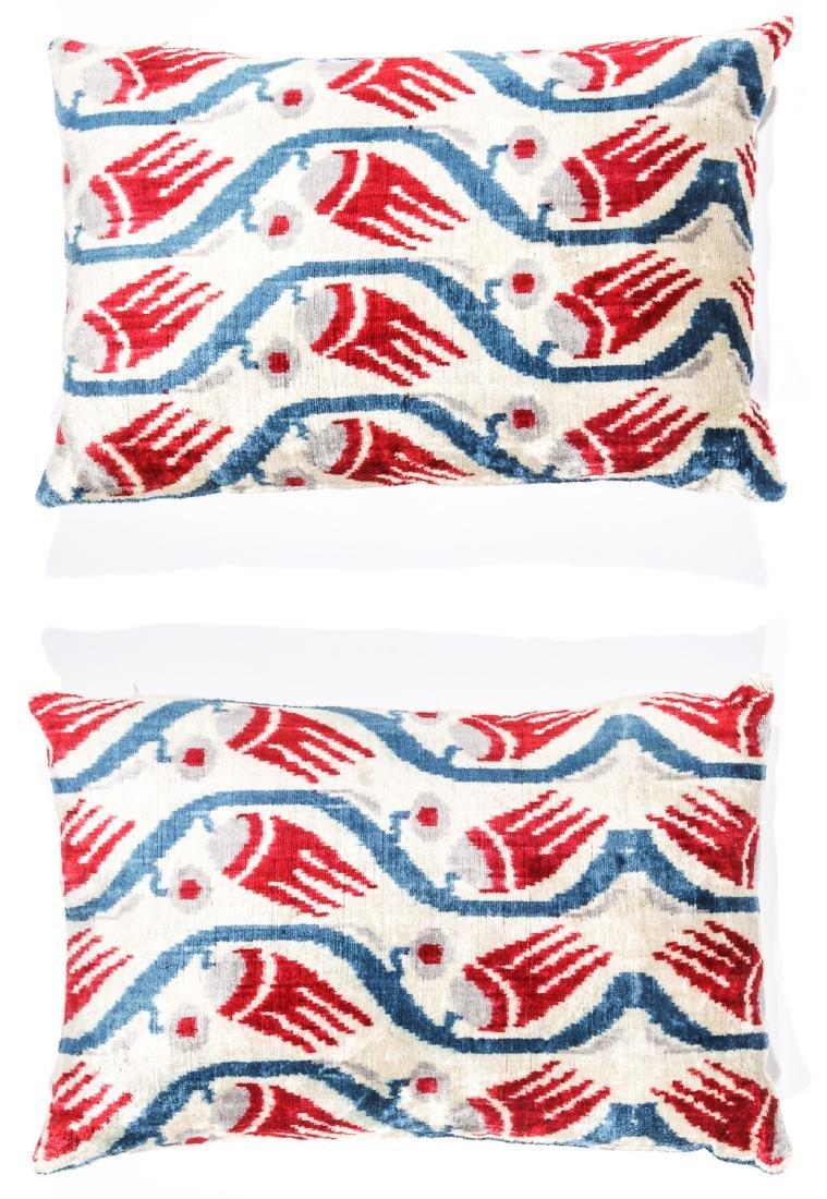 2 Velvet  Ikat Pillows
