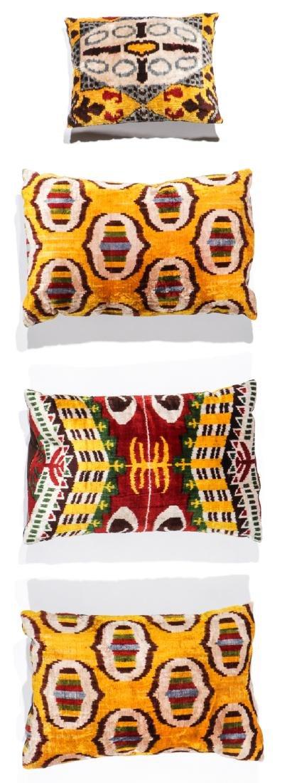 4 Silk Velvet Uzbek Ikat Pillows