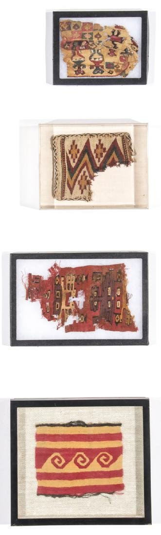 4 Pre-Columbian Textile Fragments in Frames
