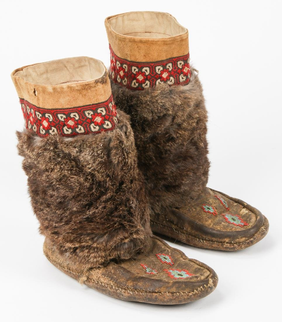 Pair of Old Inuit Beaded Mukluks/Boots