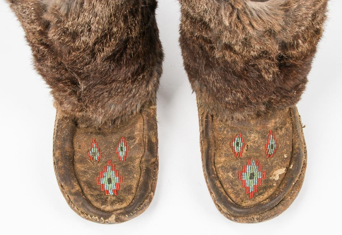 Pair of Old Inuit Beaded Mukluks/Boots - 5
