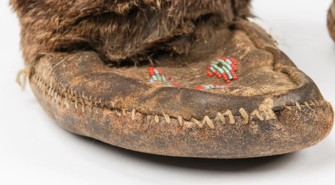 Pair of Old Inuit Beaded Mukluks/Boots - 6