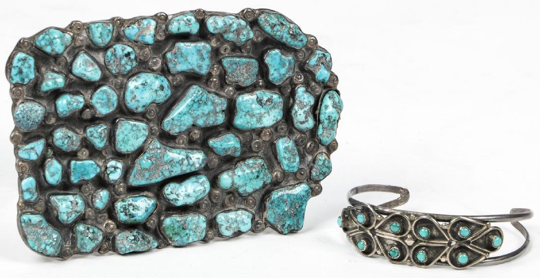 Navajo Turquoise Silver Buckle and Bracelet