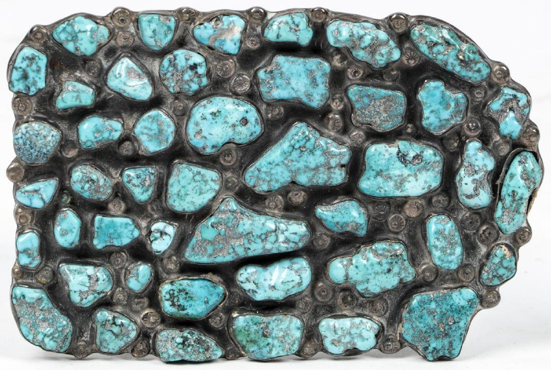 Navajo Turquoise Silver Buckle and Bracelet - 2