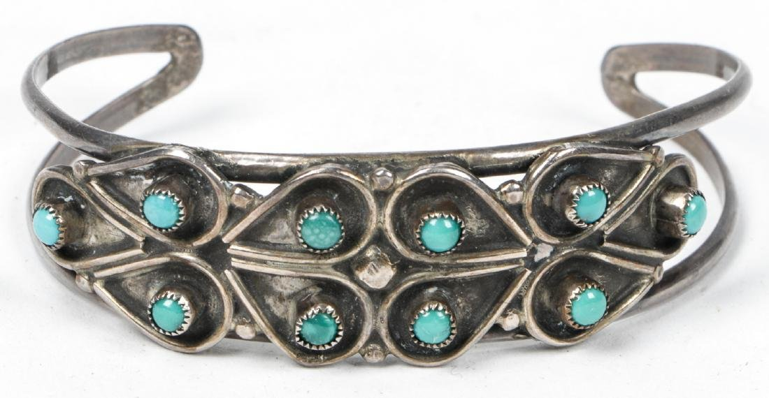 Navajo Turquoise Silver Buckle and Bracelet - 4