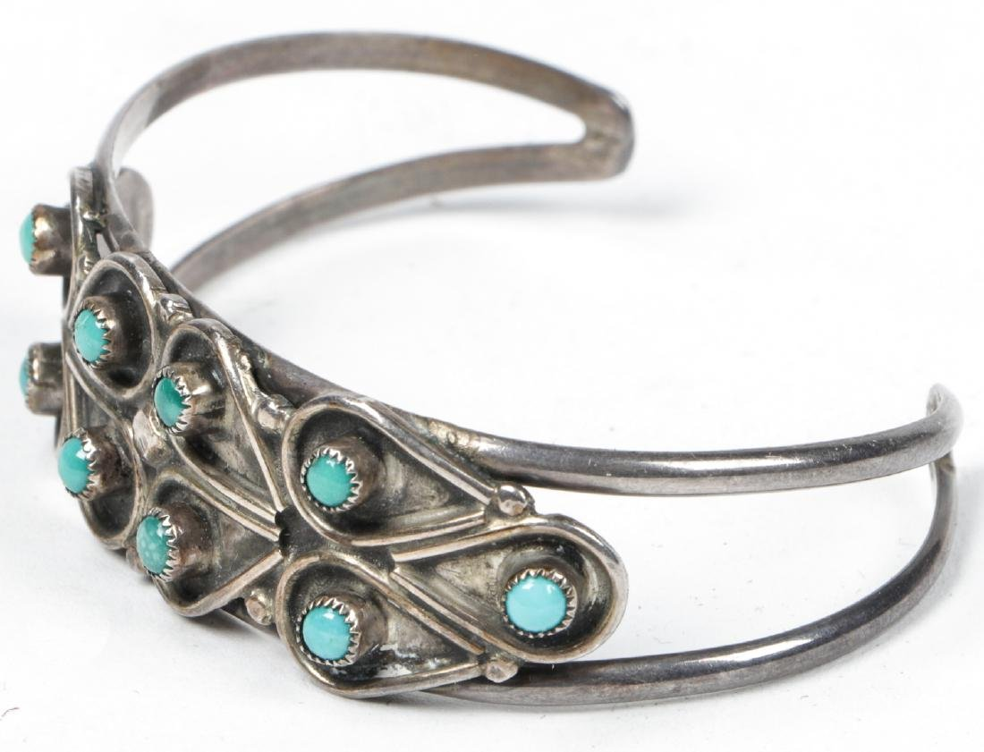 Navajo Turquoise Silver Buckle and Bracelet - 6