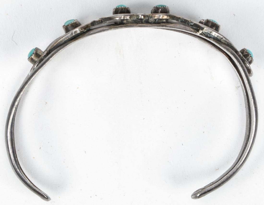Navajo Turquoise Silver Buckle and Bracelet - 8