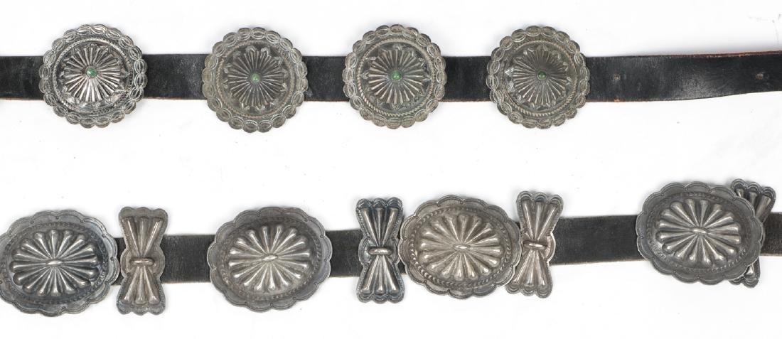 2 Fine Old Native American Concho Belts - 3