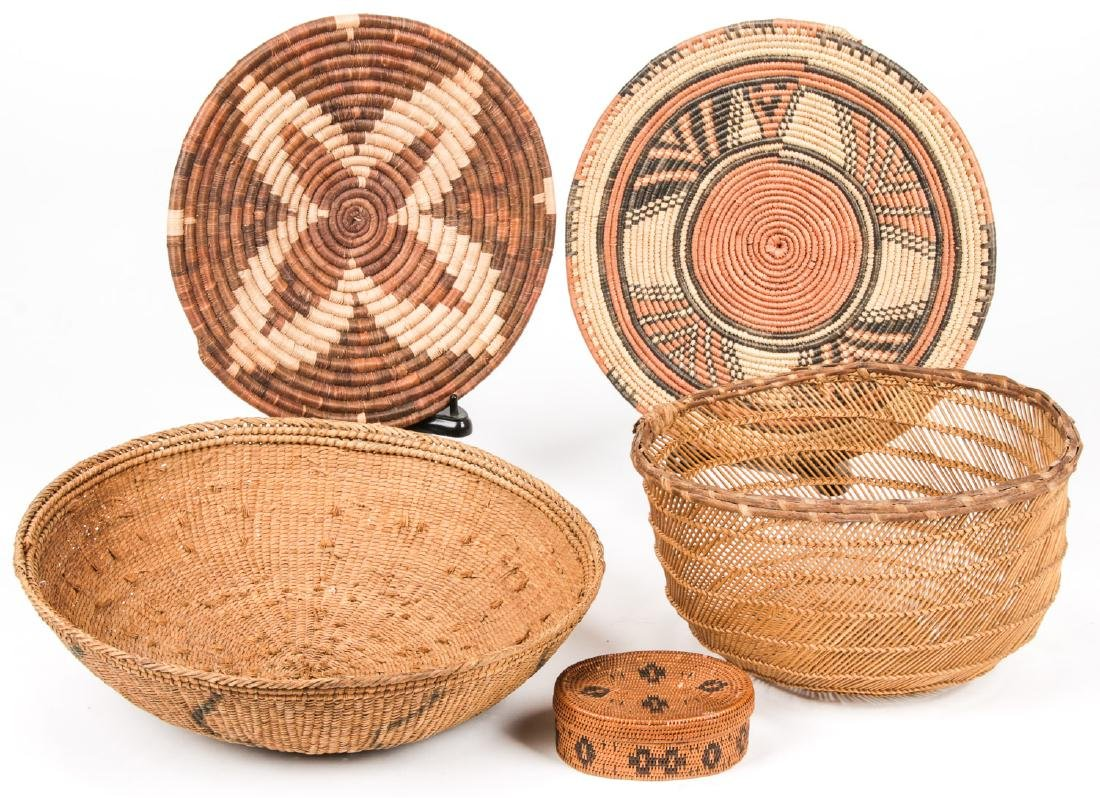 Collection of 5 Native American & Ethnographic Baskets