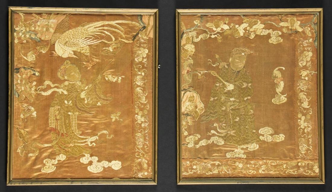 2 Framed Antique Chinese Silk Embroideries
