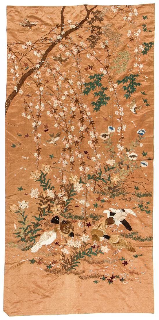 Antique Asian Bird/Cherry Blossoms Silk Embroidery