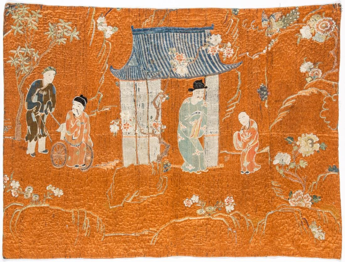 18th C. Chinese Silk Embroidered Tapestry