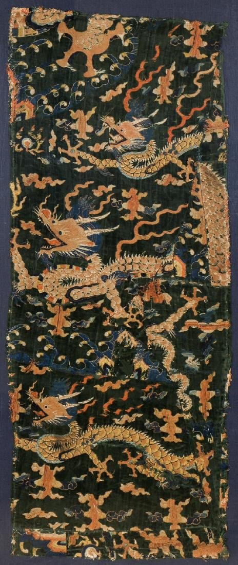 Antique Chinese Silk Embroidered Dragon Textile Panel