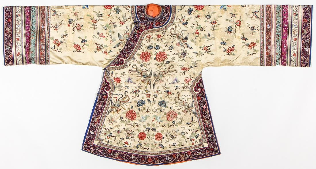 Antique Chinese Silk Embroidered Robe, Qing D.