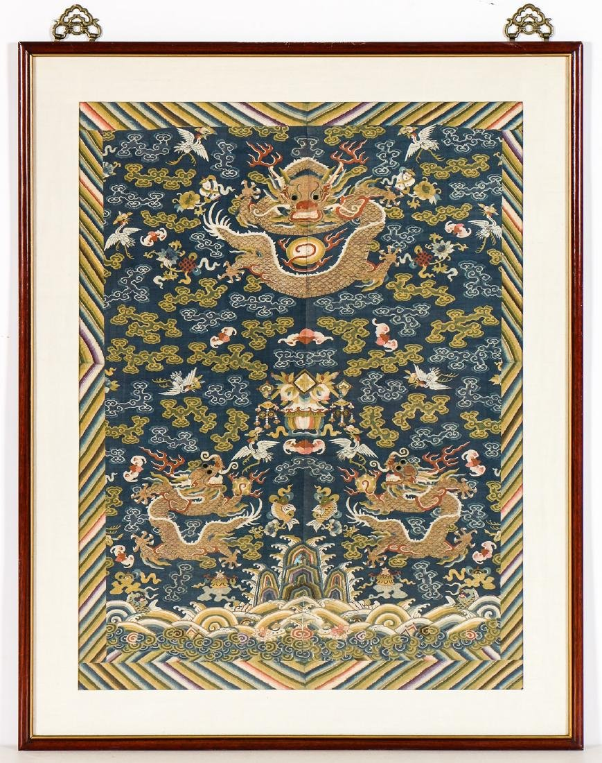 Antique Chinese Silk Embroidered Dragon Tapestry