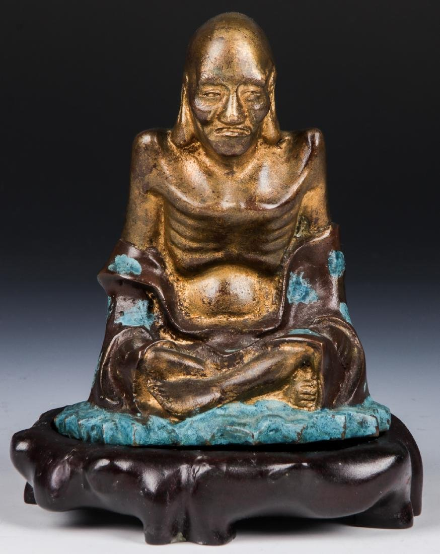 Chinese Patinated Bronze Temple Guardian Statue