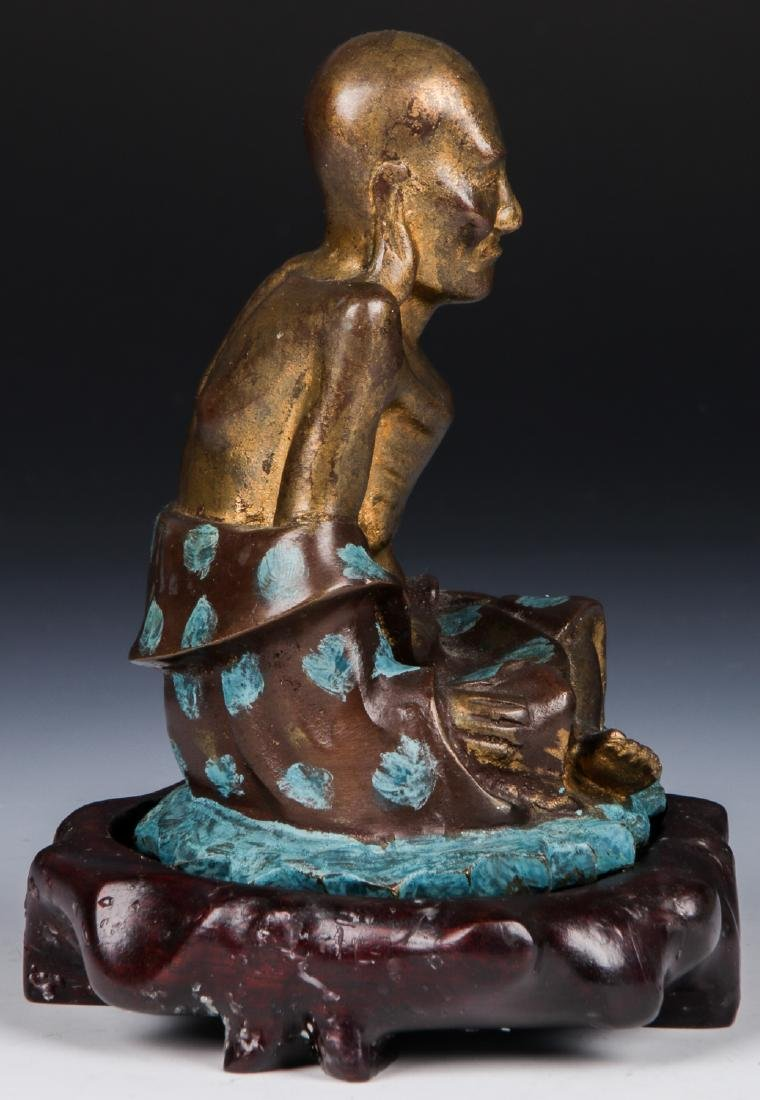 Chinese Patinated Bronze Temple Guardian Statue - 3