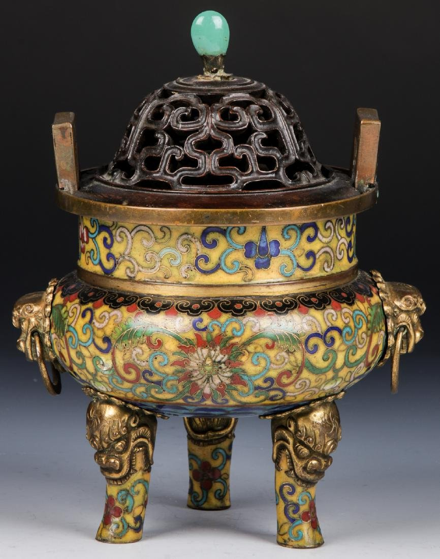 Chinese Cloisonne Gilt Ormolu Mounted Censor