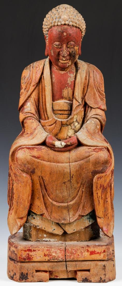 Antique Chinese Carved Wood Buddha