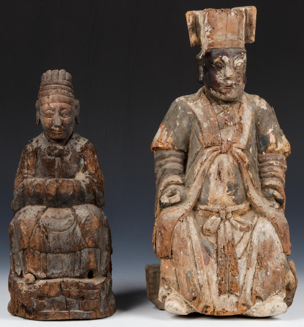 Two Antique Chinese Buddhist Wood Figural Carvings