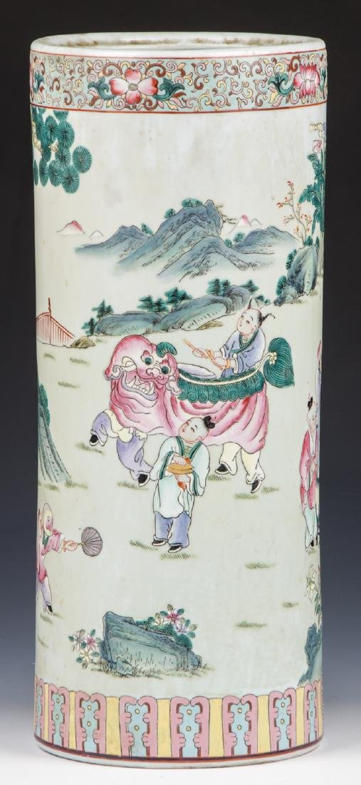 Chinese Famille Rose Porcelain Umbrella Stand