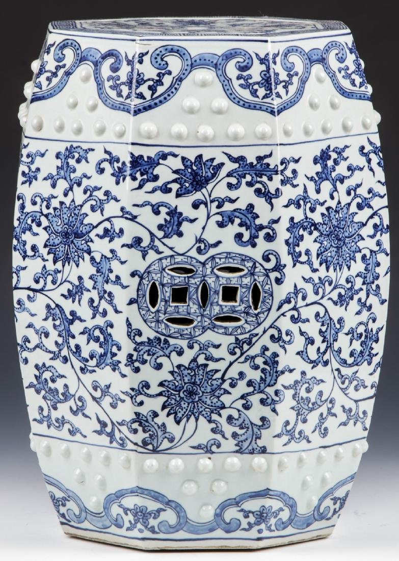 Fine Chinese Blue and White Garden Stool - 2