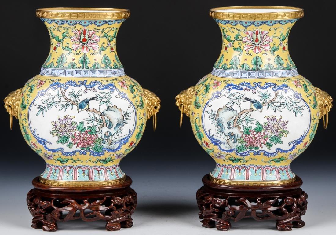 Pair of Chinese Canton Enamel Gilt Ormolu Jardinieres
