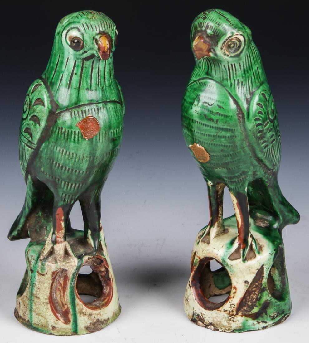 Pair of Chinese Sancai Glazed Ceramic Parrots