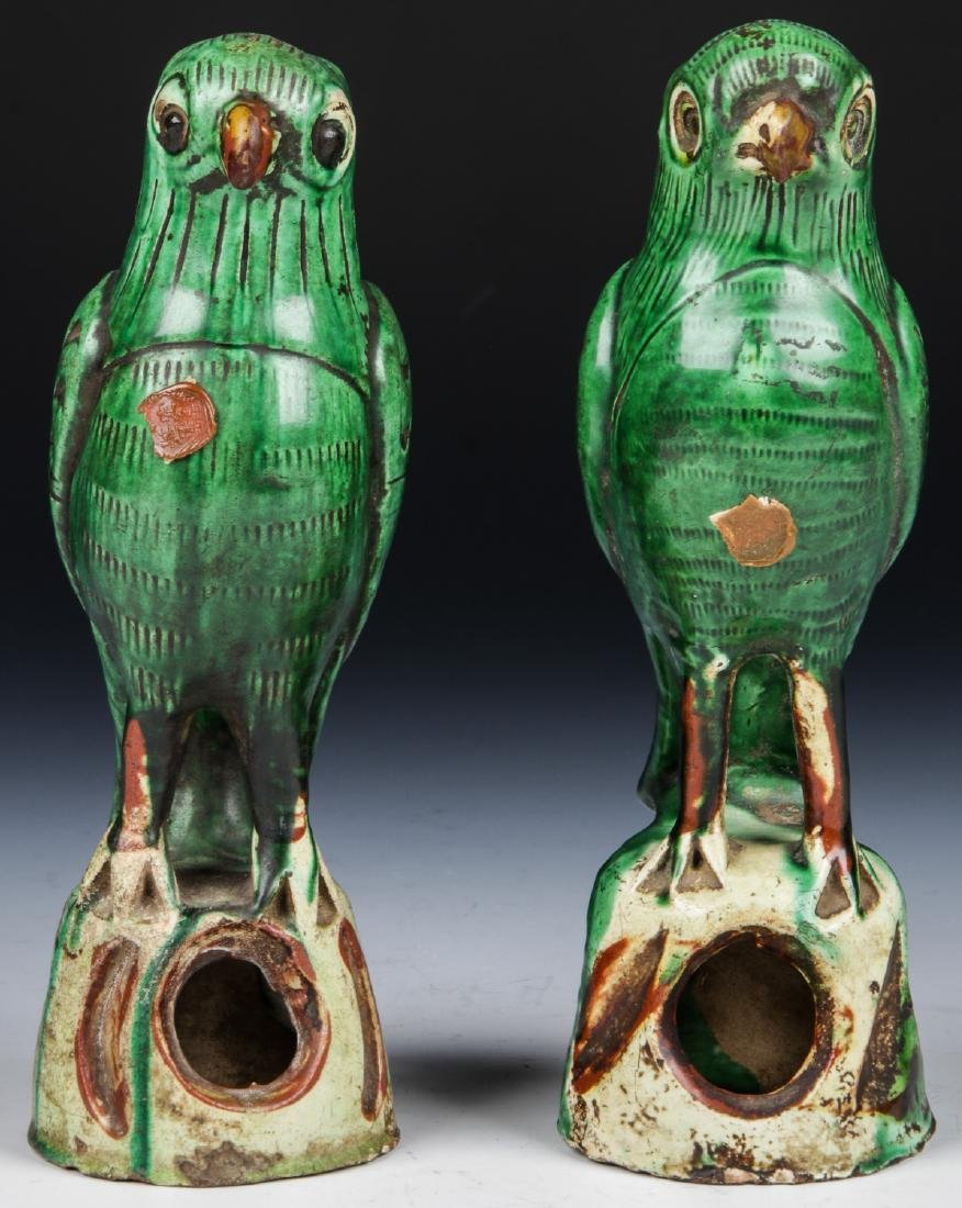 Pair of Chinese Sancai Glazed Ceramic Parrots - 2