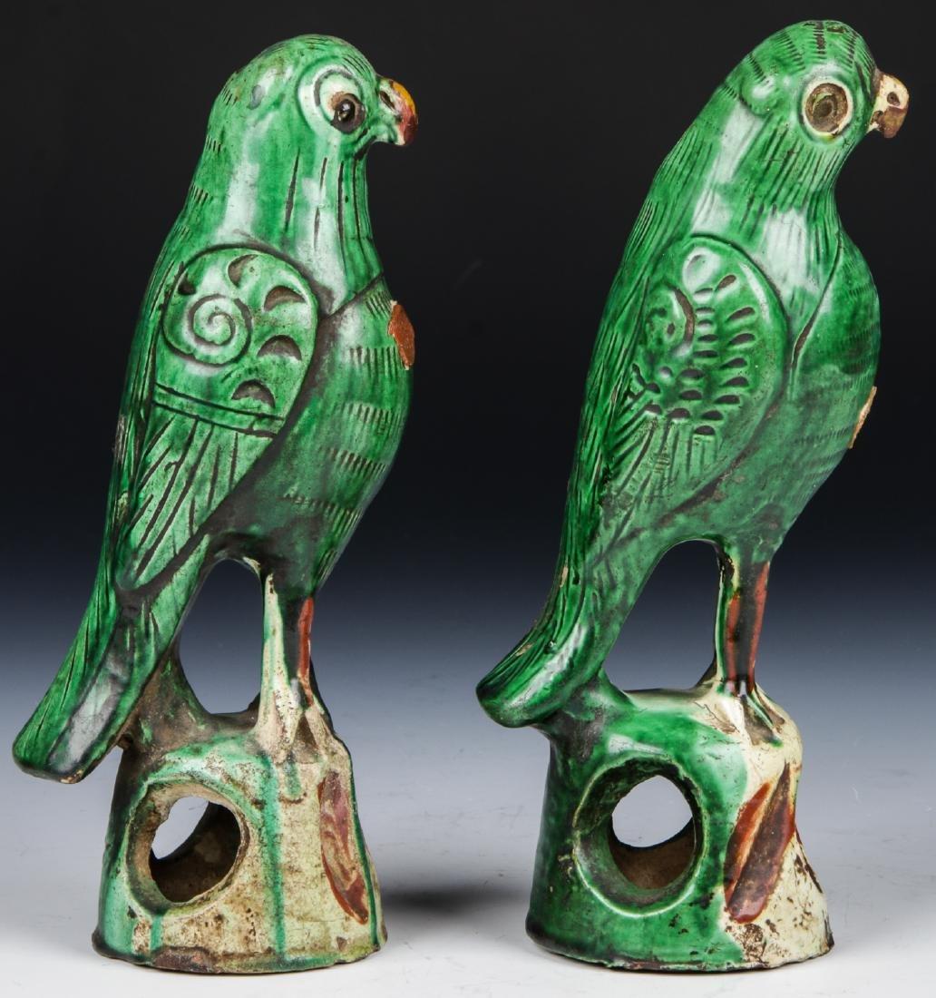 Pair of Chinese Sancai Glazed Ceramic Parrots - 3