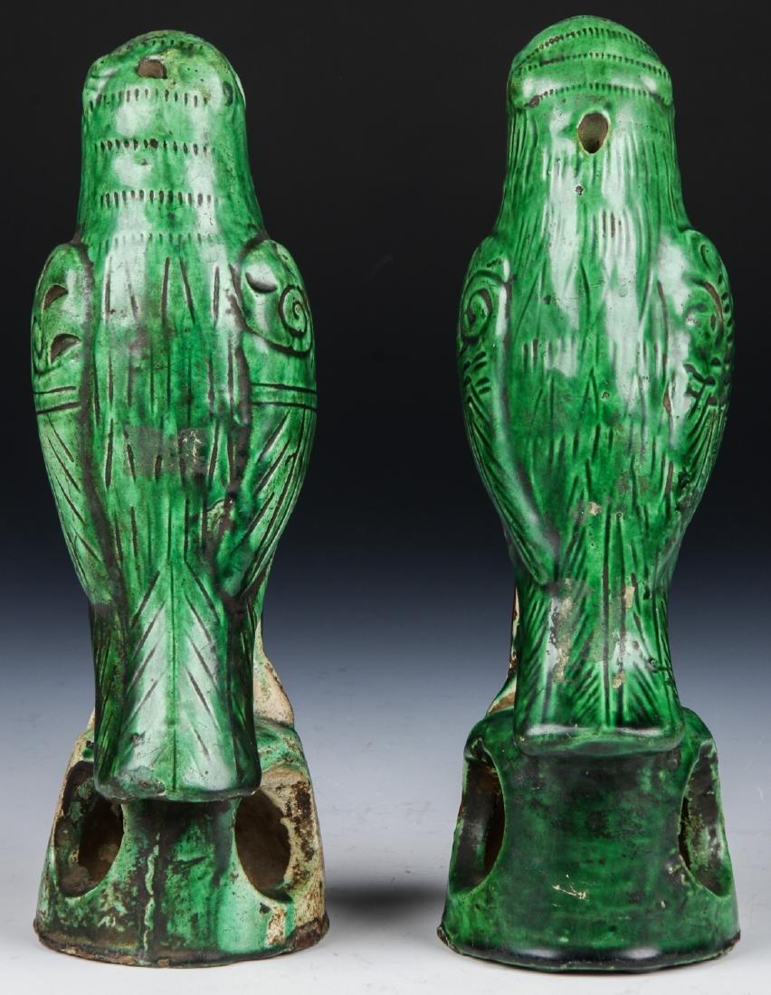 Pair of Chinese Sancai Glazed Ceramic Parrots - 4
