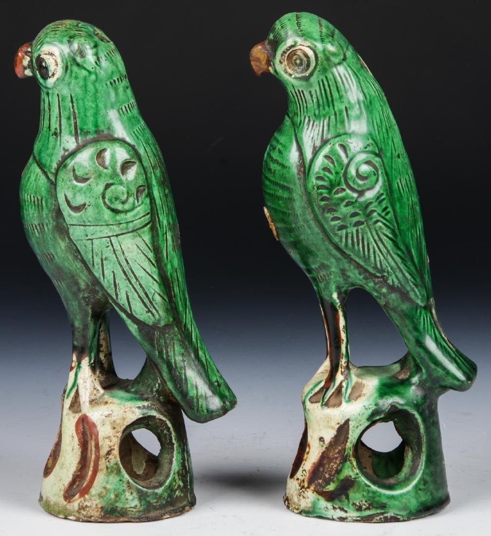 Pair of Chinese Sancai Glazed Ceramic Parrots - 5