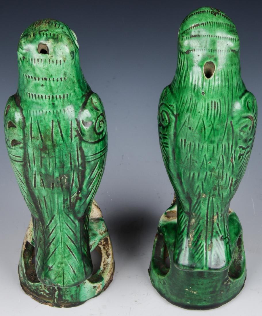 Pair of Chinese Sancai Glazed Ceramic Parrots - 6