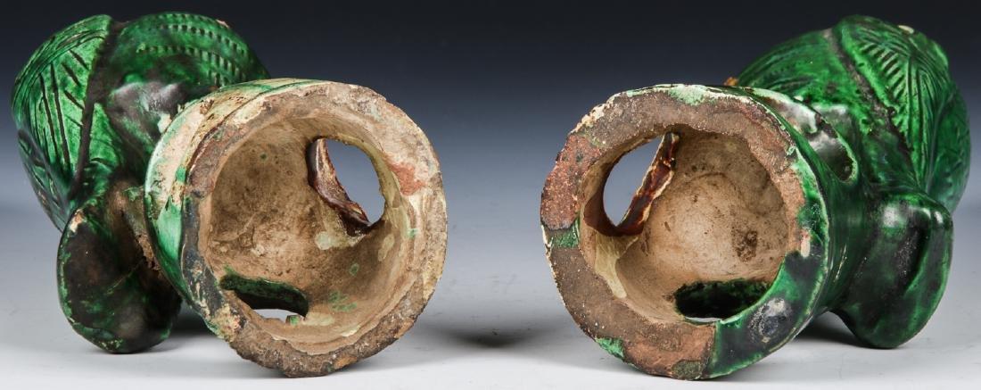 Pair of Chinese Sancai Glazed Ceramic Parrots - 7