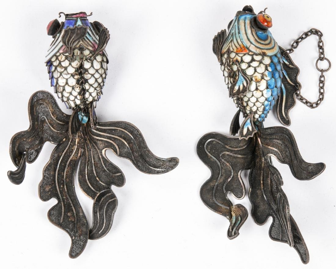Pair of Chinese Articulated Enameled Filigree Koi Fish - 3