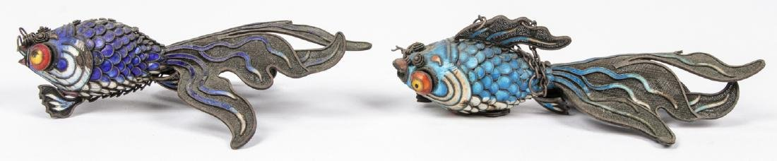 Pair of Chinese Articulated Enameled Filigree Koi Fish - 5