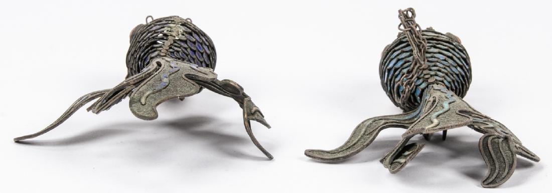 Pair of Chinese Articulated Enameled Filigree Koi Fish - 6