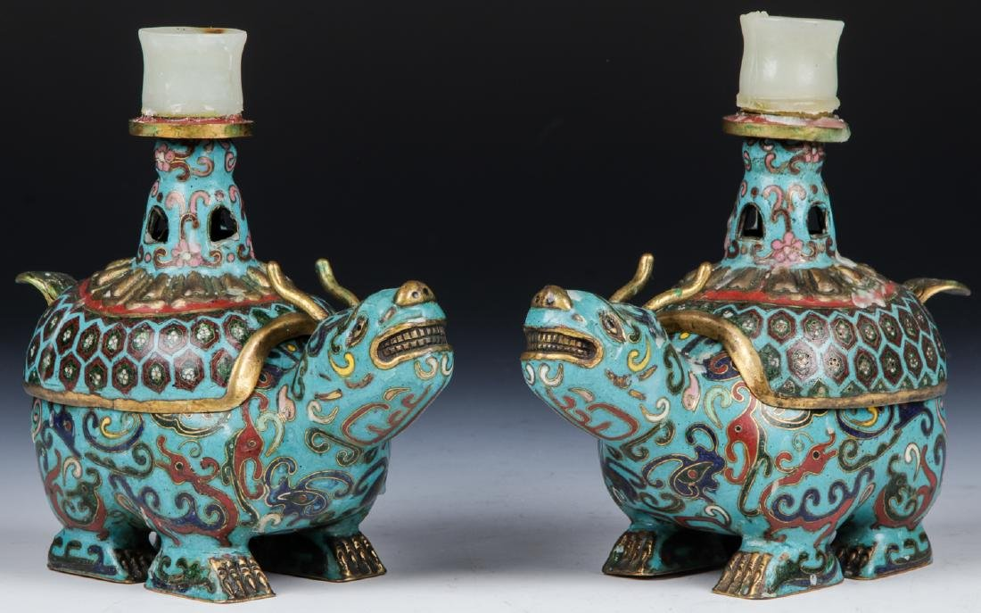 Pair of Chinese Cloisonne Foo Dog Candlesticks