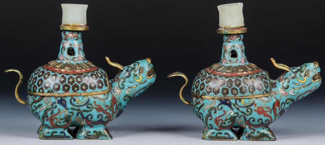 Pair of Chinese Cloisonne Foo Dog Candlesticks - 2