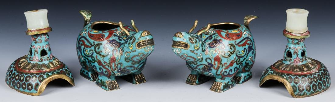 Pair of Chinese Cloisonne Foo Dog Candlesticks - 5