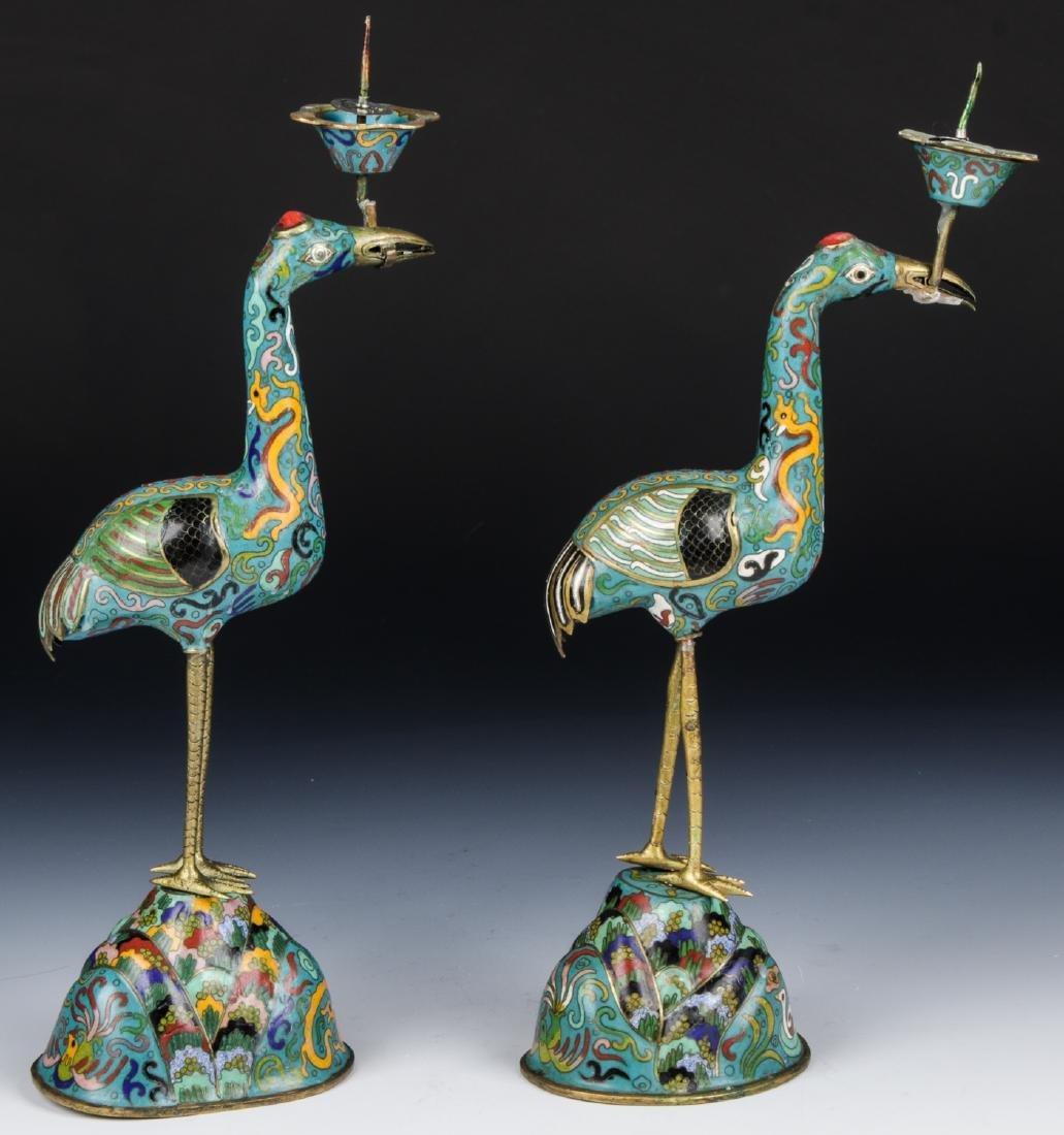 Pair of Chinese Cloisonne Crane Candlesticks - 2
