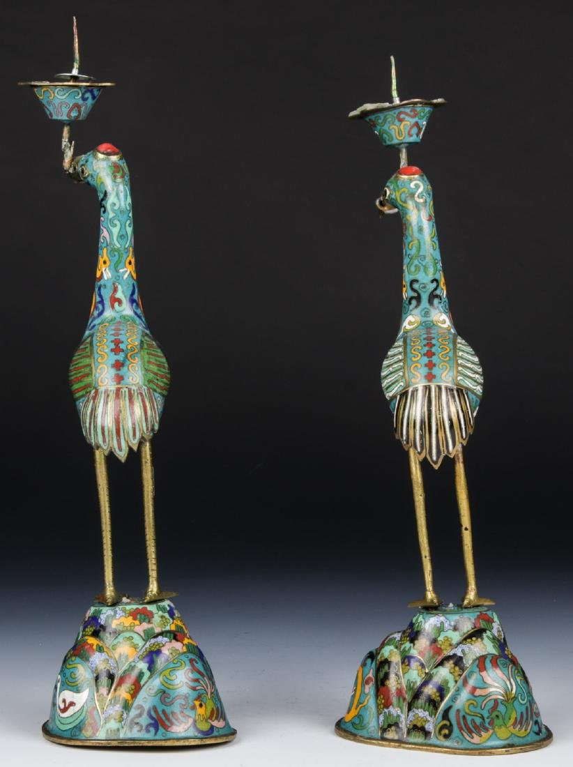 Pair of Chinese Cloisonne Crane Candlesticks - 3