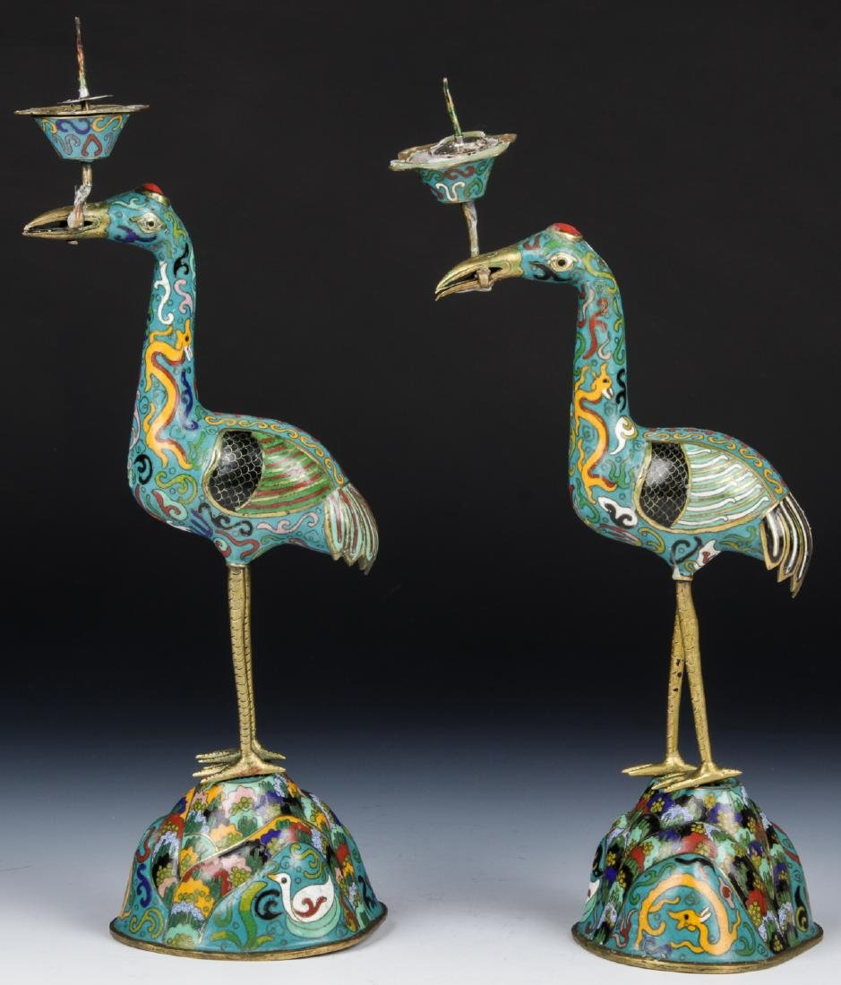 Pair of Chinese Cloisonne Crane Candlesticks - 4