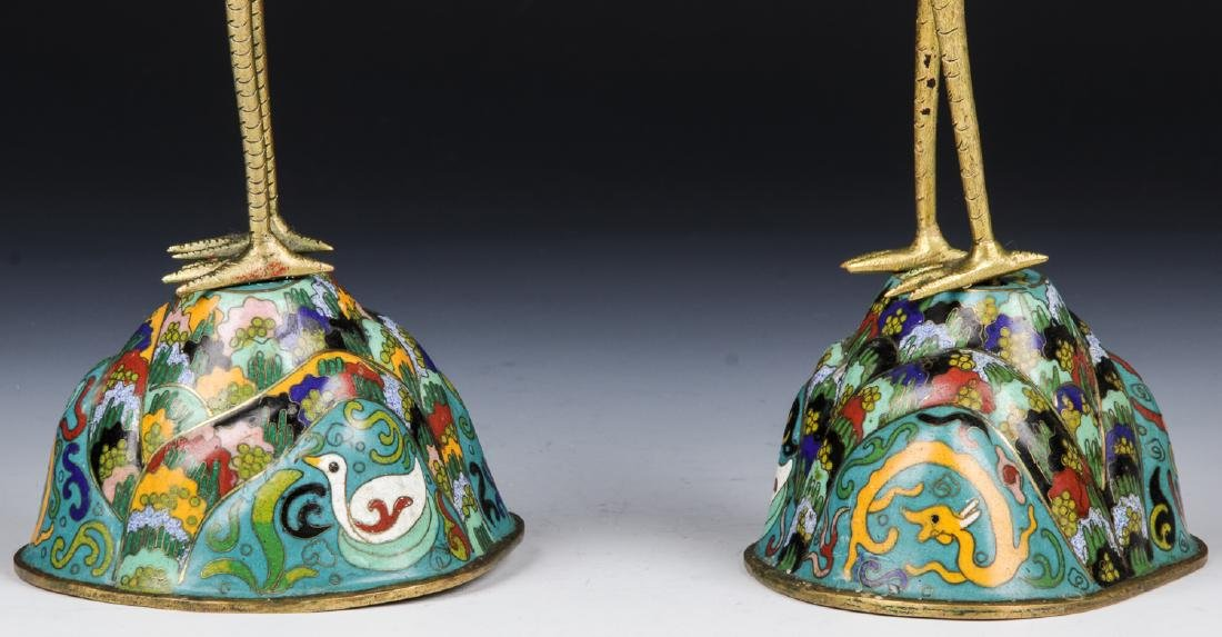 Pair of Chinese Cloisonne Crane Candlesticks - 6