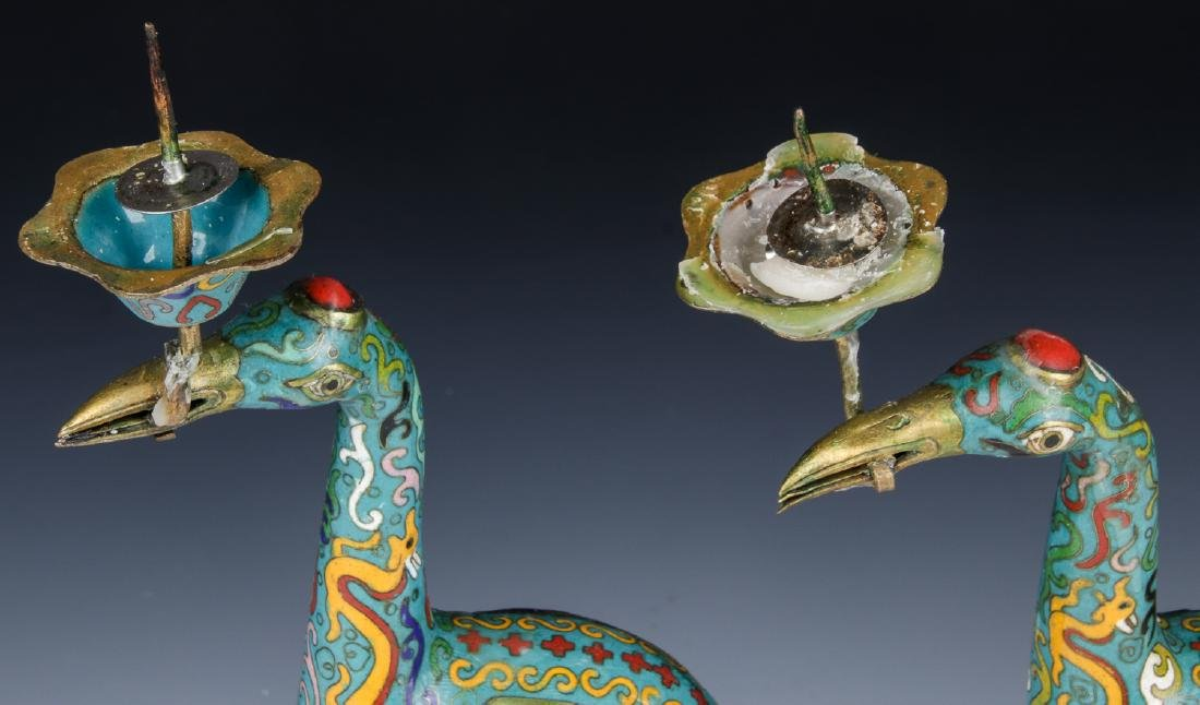Pair of Chinese Cloisonne Crane Candlesticks - 7