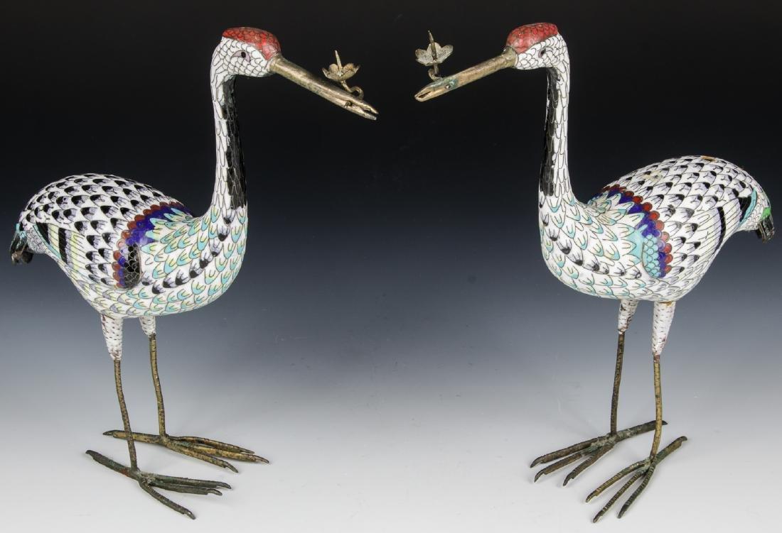 Pair of Chinese Cloisonne Enamel Crane Candlesticks