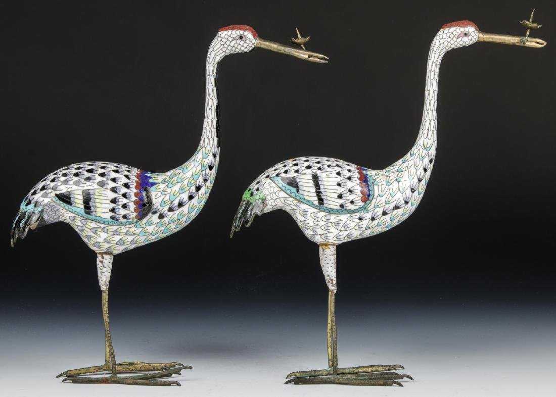 Pair of Chinese Cloisonne Enamel Crane Candlesticks - 2